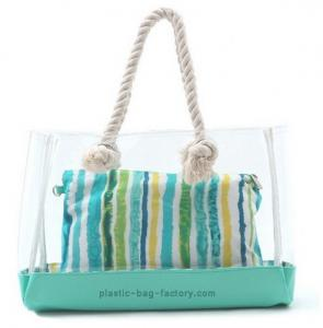 China Fashion PVC Tote Bag 35*35*14CM Or Customized With Nature Cotton Rope Handles on sale