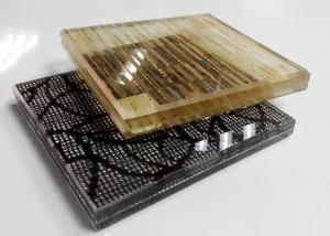 China Multi Pattern Acid Etched Glass , Figured Textured Fabric Laminated Glass on sale