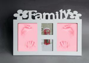 China Baby Handprint Photo Frame Wooden Material For Family / Home Decoration on sale