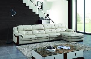 China Beige Color Wooden Furniture Modern Wooden L Shape Leather Sofa on sale