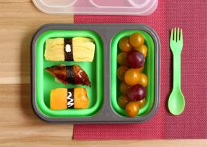 Quality Leak Proof Silicone Lunch Containers , Reusable Bento Lunch Boxes Non - Toxic for sale