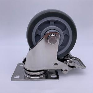 China Stainless Steel Fork PU Tread Locking Caster 75mm 100kg Load on sale