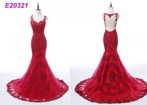 China Luxury Ladies Red Lace Formal Dress / Fashion Tulle A Line Evening Gowns High Waist on sale