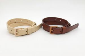 China Painting Buckle Womens Genuine Leather Belt 1.8cm Width Orange / Beige Color on sale
