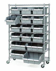 China Commercial Garage Rolling Wire Rack Shelves 16 Bins Rack Steel Frame Shelving on sale