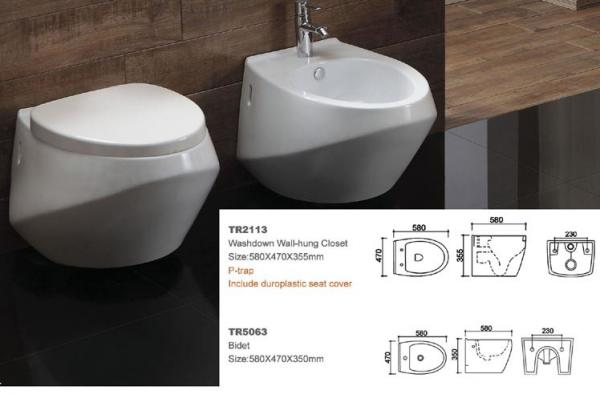 Trend group rimless wall hung toilet black and white ce certificate