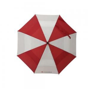 China 29 Inch Red And White Double Canopy Umbrella With Black Color EVA Handle on sale
