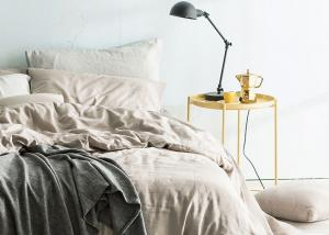 China Linen Cotton Dyed Plain Bedding Sets , 4Pcs Comforter Bedding Sets For Home on sale