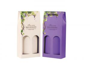 China Coloful Wine Gift Box Packaging / Two Window Custom Wine Bottle Boxes on sale