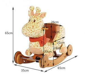 China Wooden Plush Rocking Toy , Giraffe Plush Rocking Animal CE Certificate on sale