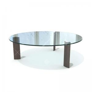 China Modern 15mm Glass Top Hotel Coffee Table Stainless Steel /  Solid Wood Legs on sale