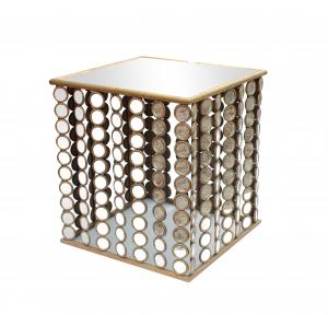 China Squre end table with small mirror decorations for Dinning room metal framed on sale