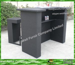 China Contemporary Black Resin Wicker Bar Set on sale