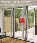 Low-e glass gray color aluminium folding glass door bi-fold door,bi fold door design exterior patio doors