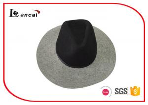 China Black And Grey Tan Felt Cowboy Hat Ribbed Band Mens Felt Dress Hats on sale