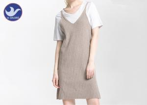 China Spaghetti Strap Ribbed Midi Womens Knitted Dresses V Neck Loose Fitting Side Slit on sale
