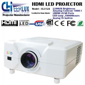 China led analog tv projector with 2* hdmi ports & 2* usb inputs & high lumens & high resolution on sale