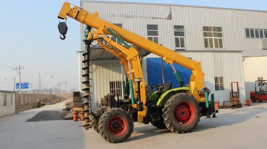 Hydraulic concrete pole erection machine for drilling deep