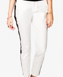 China White Lightweight Contrast Ankle Length Pants Women Long Trousers on sale