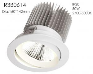 China Aluminum High Power 50w 3000k White Fixture Spring Install 1400mA 37V Five Star Hotel Downlights/R3B0614 on sale