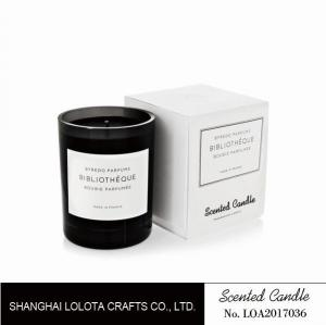 China Light black jar scented soy wax candle with white folding box on sale