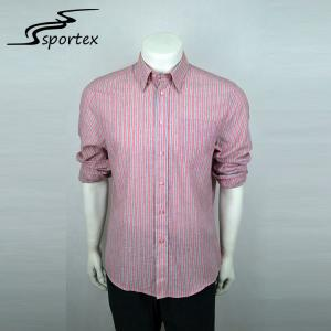 China Red And White Stripes Mens Outdoor Shirts 100% Cotton Materials High Grade on sale
