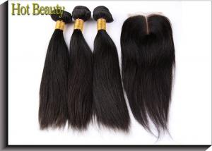 China No Chemical Grade 6A Virgin Hair Straight Hair Style Natural Black 1b# With Closure on sale