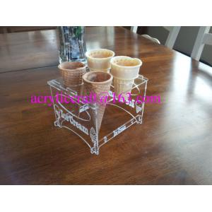 China Detachable Engraved Acrylic 4 Waffle or Cones Holder, 4 slot Ice Cream Cone Display Stand on sale