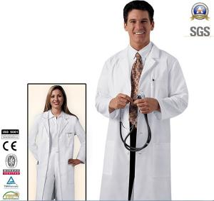 China Custom Workwear Stylish Lab Coat Featuring a Sewn Down Belt Med Couture Logo on sale