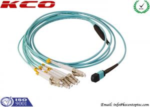 China MPO to 8 LC OM3 OM4 Optic Fiber Patch Leads 8 Cores 12 Cores Patch Cord on sale