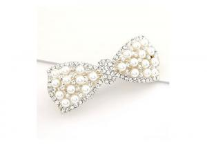 China Silver Pretty Faux Pearl Jeweled Hair Accessories For Short Hair Women on sale