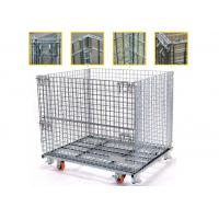 High Strength Collapsible Wire Containers Storage Cages For Handling Loading / Unloading