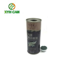 China Size 250ml  Glossy Lamination Printing Slim Recyclable Metal Round Tin Box for Sesame oil on sale