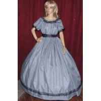 Civil War Dress Wholesale XXS to XXXL CIVIL WAR SOUTHERN BELLE VICTORIAN PIONEER Black Gingham Chck Costume Dress Gown