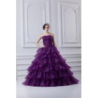 Chic Strapless Organza Quinceanera Party Dresses with Beads for Young Girls