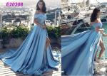 Vintage Sleeveless Off The Shoulder Ball Gown , Cute Slit Open Back Prom Dress