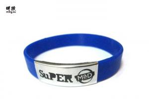 China Blue Custom Wrist Bracelets Embossed Silicone Wristbands For Running Sports on sale