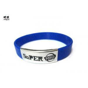 China Os braceletes feitos sob encomenda azuis do pulso gravaram punhos do silicone para esportes running on sale