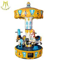 China Hansel children park game 3 seats backyard carousel pony ride with music on sale
