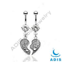 "Stainless Steel "" best friend "" Dangle Belly Ring Navel Piercing Pretty Belly Button Rings"