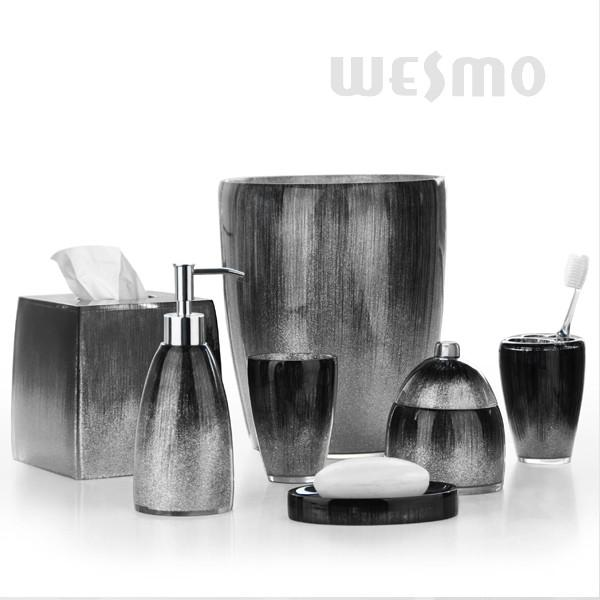 Delicieux Mixture Of Grey, Black And Silver Powders High End Polyresin Bathroom Set  (WBP0346A) Images