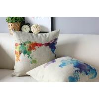 World map cushion,custom print cotton linen cushion,painting drawing cushion
