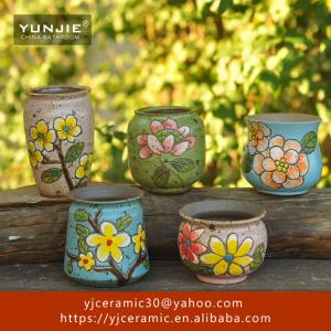 China Home decoration flowers small plant art handmade ceramic planter on sale