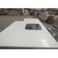 Square Quartz Bathroom Worktops With Stainless Steel Sink Undermounted