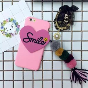 China DIY Hard PC Smile Word Heart Pattern Small Hair Ball Tassel Back Cover Cell Phone Case For iPhone 7 6s Plus on sale