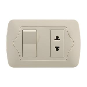 China PC Material Gold Electric Wall Sockets , 1 Gang 1 Way / 2 Way Switch & 1 Gang Socket on sale
