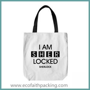 China cotton tote bag, white cotton tote bag with black logo printing on sale