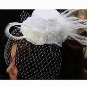 China Mini Hat Feather Fascianator, Wedding Fascinator Hat with Veil on sale