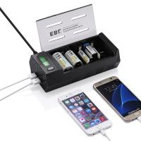 NiMH NiCD AA AAA C D Lithium 9v rechargeable battery and charger with USB Ports Phone Charger