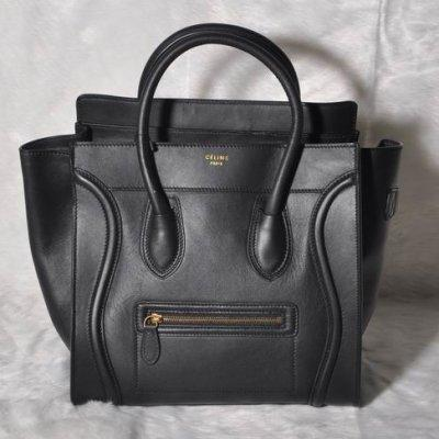 49bd3aaf39001 Celine Mini Luggage Tote Bag Smooth Leather Black Product Photos ...